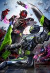 2boys blood clenched_hands clouds dual_wielding fighting helmet highres holding holding_sword holding_weapon kamen_rider kamen_rider_01_(series) kamen_rider_eden kamen_rider_zero-one masukudo_(hamamoto_hikaru) metalcluster_hopper multiple_boys open_hands power_armor red_eyes robot severed_arm severed_limb sky sword tokusatsu weapon yellow_eyes
