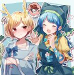2girls apron bangs blonde_hair blue_background blue_hair blue_shirt blush closed_eyes crossed_arms dragon_horns dragon_tail dress green_hair hands_up haniyasushin_keiki head_scarf heart highres horns kicchou_yachie kurokoma_saki long_hair long_sleeves magatama magatama_necklace moshihimechan multiple_girls open_mouth red_eyes shirt short_sleeves smile spoken_character squiggle sweatdrop tail touhou turtle_shell yellow_dress