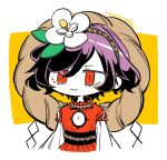 1girl chibi flower hair_flower hair_ornament long_sleeves magnolia mirror moi2m3 purple_hair red_eyes red_shirt romaji_text rope shide shimenawa shirt short_hair simple_background solo touhou upper_body white_background white_shirt yasaka_kanako yellow_background