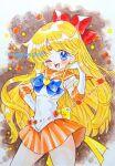 1girl ;d aino_minako aomidori back_bow bishoujo_senshi_sailor_moon blonde_hair blue_bow blue_eyes bow brooch brown_background choker circlet cowboy_shot earrings elbow_gloves gloves hair_bow hand_on_hip jewelry long_hair looking_at_viewer magical_girl one_eye_closed open_mouth orange_neckwear orange_sailor_collar orange_skirt pleated_skirt red_bow sailor_collar sailor_senshi_uniform sailor_venus shiny shiny_hair skirt smile solo standing star_(symbol) star_choker stud_earrings super_sailor_venus traditional_media twitter_username watercolor_(medium) white_gloves yellow_bow