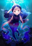 1other absurdres anchor blue_hair blue_legwear captain_nemo_(fate) fate/grand_order fate_(series) fish highres huge_filesize lemonpear light_brown_hair long_hair long_sleeves military military_uniform naval_uniform ocean outdoors shoe_ribbon shorts solo swimming turban twintails underwater uniform water