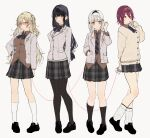 4girls absurdres bangs black_footwear black_hair blazer blonde_hair blush bow bowtie breasts brown_cardigan brown_eyes brown_shirt buttons cardigan closed_mouth commentary finger_to_mouth flat_chest grey_background grey_eyes hair_ornament headband highres jacket kayahara large_breasts long_hair long_sleeves looking_at_viewer loose_socks miniskirt multiple_girls necktie open_clothes open_jacket original pantyhose pink_eyes plaid plaid_skirt pleated_skirt red_eyes redhead school_uniform shirt short_hair simple_background skirt smile standing string string_of_fate thigh-highs two_side_up white_hair white_jacket white_legwear yuri zettai_ryouiki