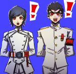 ! 2boys akudama_drive armband arms_behind_back artist_name bangs black_hair blue_background commentary_request cowboy_shot danganronpa:_trigger_happy_havoc danganronpa_(series) ishimaru_kiyotaka looking_at_viewer male_focus military military_uniform multiple_boys qosic red_eyes short_hair simple_background standing uniform