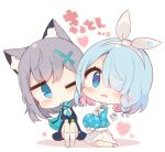 2girls animal_ear_fluff animal_ears bangs black_skirt blue_archive blue_eyes blue_hair blue_jacket blue_scarf blue_shirt blush bow chibi colored_shadow commentary_request drooling eyebrows_visible_through_hair fringe_trim grey_hair hair_ornament hair_over_one_eye head_tilt heart jacket knees_up long_sleeves looking_at_viewer mouth_drool multicolored_hair multiple_girls muuran open_clothes open_jacket parted_lips pink_hair pleated_skirt sailor_collar scarf shadow shirt signature sitting skirt sleeves_past_fingers sleeves_past_wrists socks translation_request two-tone_hair wavy_mouth white_background white_bow white_legwear white_sailor_collar white_shirt white_skirt