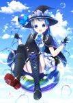 1girl adapted_costume alternate_costume black_footwear black_gloves black_headwear black_legwear blue_dress blue_eyes blue_hair blue_neckwear blue_sky blush boots brooch bubble cape chisamikan clouds cloudy_sky cross-laced_footwear day dress floating flying full_body garter_straps gloves hat highres jewelry kantai_collection long_hair looking_at_viewer open_mouth samidare_(kantai_collection) shirt sitting sky sleeveless sleeveless_shirt smile solo staff thigh-highs very_long_hair white_dress witch witch_hat