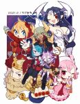 3boys 4girls :d :o ;d ahoge ankle_bow arm_up armor bare_arms bare_legs beard bieko_(disgaea) black_hair black_shorts blonde_hair blue_eyes blue_hair blue_skin bodysuit bow breasts cape cerberus_(disgaea) choker chusendol_(disgaea) closed_eyes colored_skin crown dated disgaea dog dress facial_hair gloves green_hair grey_gloves hair_over_one_eye happy hat head_wings headgear hood hoodie horns ivar_(disgaea) jewelry kazamine_(stecca) large_breasts long_hair makai_senki_disgaea_6 melodia_(disgaea) messy_hair money multiple_boys multiple_girls mustache nijino_piyori no_nose one_eye_closed open_mouth pauldrons pink_dress pink_hair purple_dress purple_hair purple_skin red_bodysuit red_eyes red_footwear red_gloves red_neckwear ring shoes short_hair shorts shoulder_armor signature single_horn skin-covered_horns smile spikes striped tan thighlet twintails vertical-striped_dress vertical_stripes white_dress white_headwear white_neckwear yellow_neckwear zed_(disgaea)