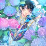 1boy black_hair blue_eyes blue_flower code_geass flower highres holding holding_flower hydrangea lelouch_lamperouge long_sleeves looking_to_the_side male_focus open_mouth partially_submerged pink_flower short_hair solo sumi_otto upper_body