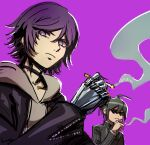 2boys ahoge akudama_drive bangs black_choker black_hair black_jacket choker cigarette commentary_request courier_(akudama_drive) danganronpa_(series) danganronpa_v3:_killing_harmony hair_between_eyes holding holding_cigarette hood hoodie jacket long_sleeves looking_at_viewer male_focus multiple_boys qosic saihara_shuuichi short_hair simple_background smoking striped_jacket
