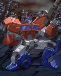1boy artist_name autobot building clenched_hand english_commentary glowing glowing_eyes gun highres holding holding_gun holding_weapon kneeling looking_to_the_side mecha one_knee optimus_prime ruins science_fiction solo theo_aud transformers watermark weapon