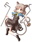 1girl animal_ears bangs basket blue_capelet brown_eyes capelet dowsing_rod dress eyebrows_visible_through_hair full_body grey_dress grey_footwear grey_hair highres holding jewelry long_sleeves looking_at_viewer mouse mouse_ears mouse_tail nazrin open_mouth pendant ruu_(tksymkw) short_hair simple_background tail touhou v-shaped_eyebrows white_background white_legwear white_sleeves