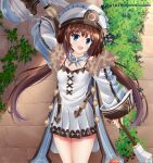 1girl :d arm_up artist_name blanc blanc_(cosplay) blue_eyes breasts brick_wall brown_hair cosplay detached_sleeves dress helvetica_std highres hinatsuru_ai long_hair long_sleeves looking_at_viewer low_twintails neptune_(series) open_mouth outdoors ryuuou_no_oshigoto! small_breasts smile standing twintails very_long_hair watermark white_dress white_headwear wide_sleeves