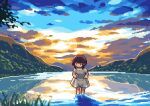 1girl brown_hair dress dress_lift lake mountain nature original oyuzaki_(ayuzaki) pixel_art reflection short_hair sky solo sunset wading