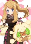 1girl 1other bag bangs blue_eyes blush brown_dress brown_hair clenched_hand closed_mouth dress feet_out_of_frame gen_5_pokemon hand_on_hip handbag heart heart_background highres horns jumping leaning_forward long_dress long_hair long_sleeves looking_at_viewer pokemon pokemon_(game) pokemon_masters_ex ponytail ribbed_dress serena_(pokemon) sidelocks smile swept_bangs whimsicott yuihico