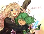2girls bangs blonde_hair blue_eyes bow brown_eyes bush copyright_name eyebrows_visible_through_hair fang floating_hair green_bow green_hair hand_up hands_together highres hug macross macross_frontier multiple_girls one_eye_closed open_mouth pink_bow pote-mm ranka_lee sheryl_nome smile v-shaped_eyebrows