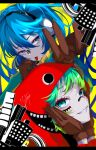 2girls absurdres blue_eyes blue_hair brown_gloves building eye_piercing gloves goma_irasuto green_eyes gumi hands_on_own_face hatsune_miku headphones highres hood hood_up hoodie looking_at_viewer looking_to_the_side matryoshka_(vocaloid) multiple_girls nose_piercing open_hand piercing red_hoodie smile tongue tongue_out twintails vocaloid