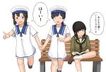 3girls bangs bench black_hair black_neckwear blue_eyes blue_sailor_collar blunt_bangs bob_cut book braid brown_footwear chagamaka closed_eyes crossed_legs daitou_(kantai_collection) dress feet_out_of_frame green_sailor_collar green_serafuku green_skirt hair_ribbon hat hiburi_(kantai_collection) kantai_collection kitakami_(kantai_collection) leg_up loafers long_hair low_ponytail multiple_girls neckerchief pleated_skirt ribbon running sailor_collar sailor_dress sailor_hat school_uniform serafuku shoes short_hair short_sleeves sidelocks simple_background single_braid sitting skirt socks translation_request tress_ribbon white_background white_dress white_headwear white_legwear