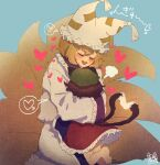 2girls =3 animal_ears bangs blonde_hair blue_background blue_tabard blush brown_hair cat_ears cat_tail chen closed_eyes commentary_request dress fox_tail frilled_dress frilled_skirt frilled_sleeves frilled_tabard frills glomp green_headwear hat heart heart_tail hug kitsune kyuubi leg_up long_dress long_sleeves mob_cap multiple_girls multiple_tails nekomata open_mouth pillow_hat red_skirt short_hair sidelocks simple_background skirt smile sokura_(mochichitose) speech_bubble spoken_heart tabard tail tassel touhou two_tails white_dress white_headwear yakumo_ran