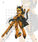 1girl absurdres armor belt belt_pouch blonde_hair cable cloak forehead_protector full_body gun highres hood hooded_cloak jinyu_lao_honglingjin looking_at_viewer mecha_musume mechanical_tail original pouch rifle solo standing tail upper_teeth weapon wheel white_background yellow_eyes