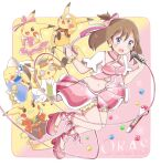 1girl bangs bow bracelet brown_hair clenched_hand cosplay_pikachu earrings full_body gen_1_pokemon holding holding_microphone jewelry may_(pokemon) microphone midriff navel open_mouth pikachu pink_bow pink_footwear pokeblock pokemon pokemon_(creature) pokemon_(game) pokemon_oras ribbon riz_(ravel_dc) shoes skirt solo star_(symbol)