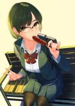 1girl absurdres bench black_legwear blazer blue_jacket blue_skirt bob_cut bow bowtie collarbone commentary dress_shirt eating food foreshortening glasses green_hair highres holding holding_food hot_dog jacket kagematsuri ketchup looking_at_viewer looking_up open_blazer open_clothes open_jacket original pantyhose pleated_skirt red_bow red_neckwear school_uniform semi-rimless_eyewear shadow shirt short_hair simple_background sitting skirt solo stick sweatdrop uniform v violet_eyes white_shirt yellow_background