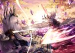2girls absurdres aiming arrow_(projectile) attack battle black_legwear blue_dress blue_eyes bow_(weapon) clouds cloudy_sky colored_skin crown crystal dress energy_weapon evil_(okame_nin) fighting floating_hair foreshortening frown highres holding holding_arrow holding_bow_(weapon) holding_sword holding_weapon horns huge_filesize incoming_attack long_hair long_sleeves mana_matitia_(okame_nin) multiple_girls no_mouth okame_nin original pantyhose perspective puffy_short_sleeves puffy_sleeves purple_dress short_sleeves sky sunset sword thigh-highs weapon white_hair white_skin wide-eyed yellow_sky