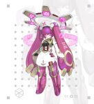 1girl absurdres armor arms_at_sides belt belt_pouch full_body hat highres hologram jinyu_lao_honglingjin joints long_hair looking_at_viewer mecha_musume mechanical_hair mechanical_halo no_feet nurse_cap original pink_eyes pink_hair pouch red_cross robot_joints solo standing twintails very_long_hair white_background