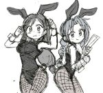 2girls aerith_gainsborough alternate_costume animal_ears bangs bare_shoulders blush bow bowtie braid breasts bunny_tail commentary_request detached_collar fake_animal_ears fake_tail final_fantasy final_fantasy_vii fishnet_legwear fishnets greyscale leotard long_hair looking_at_viewer low-tied_long_hair monochrome multiple_girls pantyhose playboy_bunny rabbit_ears single_braid sketch smile sweatdrop tail tifa_lockhart tsubobot wrist_cuffs