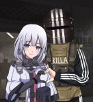 1boy 1girl body_armor escape_from_tarkov girls_frontline gloves hair_ribbon heart heart_hands heart_hands_duo highres interchange jacket jizi killa_(escape_from_tarkov) killa_helmet load_bearing_vest looking_at_viewer ribbon rpk-16_(girls_frontline) silver_hair smile standing track_suit upper_body violet_eyes