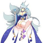 1girl animal_ear_fluff animal_ears azur_lane bangs bare_shoulders bell breasts bug butterfly commentary fox_ears fox_girl fox_tail full_body grey_hair hand_on_own_chest huge_breasts insect japanese_clothes jingle_bell long_hair looking_at_viewer multiple_tails off-shoulder_kimono parted_lips pleated_skirt rtil shinano_(azur_lane) simple_background skirt skirt_under_kimono solo tail thigh-highs very_long_hair white_background white_legwear white_skirt wide_sleeves