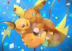 alolan_form alolan_raichu blue_background blue_eyes commentary_request confetti gen_1_pokemon gen_7_pokemon highres holding_hand kikuyoshi_(tracco) looking_at_viewer no_humans one_eye_closed open_mouth pokemon pokemon_(creature) raichu smile toes tongue