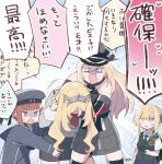 4girls artist_name bismarck_(kantai_collection) black_headwear blonde_hair braid braided_bun clothes_writing eyebrows_visible_through_hair french_braid hair_between_eyes hat headgear kantai_collection long_hair military_hat multiple_girls nelson_(kantai_collection) open_mouth peaked_cap perth_(kantai_collection) redhead sailor_hat short_hair signature speech_bubble totto_(naka) translation_request violet_eyes z3_max_schultz_(kantai_collection)