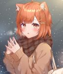 1girl :o absurdres ahoge animal_ear_fluff animal_ears bangs blunt_bangs blush brown_hair earrings eyebrows_visible_through_hair fang fingers_together hair_ornament hairclip hands_up highres jewelry long_sleeves looking_at_viewer nijisanji open_mouth orange_eyes parted_lips ratna_petit red_panda_ears scarf short_hair snow solo virtual_youtuber x_hair_ornament zky_(oekaky)