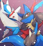 claws closed_eyes commentary_request from_below gen_3_pokemon gen_4_pokemon highres latias latios legendary_pokemon lucario nullma open_mouth pokemon pokemon_(creature) smile spikes tongue yellow_fur |d