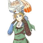 1boy 1girl 370ml belt blonde_hair blue_eyes bracer carrying colored_sclera colored_skin eye_contact fangs gloves green_tunic light_smile link looking_at_another looking_down looking_up mask midna multicolored multicolored_skin one_eye_covered piggyback pointy_ears ponytail red_eyes simple_background skin_fangs smile the_legend_of_zelda the_legend_of_zelda:_twilight_princess two-tone_skin upper_body white_background