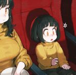 2girls black_hair black_skirt breasts bucket chair commentary eating food full_mouth highres jun_(seojh1029) large_breasts long_sleeves looking_down medium_hair miniskirt movie_theater multiple_girls open_mouth orange_eyes original popcorn shadow short_hair sitting skirt sweater triangle_mouth turtleneck turtleneck_sweater yellow_sweater