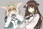 2girls animal_ear_fluff animal_ears arknights armband ascot black_footwear black_legwear black_neckwear blonde_hair blue_gloves blue_headband blush braid braided_ponytail brown_hair buchi_k018 cat_ears cheek_pinching coat commentary_request eyebrows_visible_through_hair flower folinic_(arknights) fox_ears gloves hair_flower hair_ornament headband highres kitsune mongoose_ears motion_lines multicolored_hair multiple_girls open_mouth pinching shoes single_glove sketch streaked_hair suzuran_(arknights) white_coat yellow_eyes