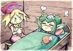 2girls amitie bag bed blanket blonde_hair blush blush_stickers closed_eyes closed_mouth commission cooling_pad fever green_eyes green_hair hat horns lying pillow pointy_ears puyopuyo red_hat rider_(puyopuyo) setz sick sitting sleeveless sleeveless_shirt wooden_floor wooden_wall
