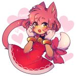 1girl :3 :d alternate_species amy_rose animal_ears artist_name blush bow breasts cat cat_ears cat_girl cat_tail dress english_commentary eyebrows_visible_through_hair furry gloves hairband heart highres medium_breasts mekaiime open_mouth pink_bow pink_hair red_dress red_hairband simple_background smile solo sonic_the_hedgehog tail upper_body whiskers white_background white_gloves yellow_eyes