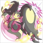 2ja_t bangs bright_pupils commentary energy full_body gen_3_pokemon highres looking_at_viewer mawile mega_mawile mega_pokemon outstretched_arms parted_bangs parted_lips pokemon pokemon_(creature) solo toes violet_eyes