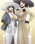 2girls alcina_dimitrescu bayonetta bayonetta_(character) beige_dress black_flower black_gloves black_hair black_rose breasts choker dangerousbride dress earrings flower glasses gloves gold_earrings golden_rose grey_eyes hand_on_hip hand_on_own_chest hand_on_own_face hat highres jewelry large_breasts large_hat lipstick makeup mole mole_under_mouth multiple_girls necklace pantyhose red_lips red_lipstick resident_evil resident_evil_village rose short_hair sparkle tall tall_female white_dress white_flower white_rose yellow_eyes