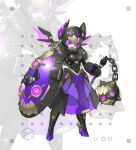 1girl absurdres armor armored_dress dress fang flail full_armor full_body helmet highres jinyu_lao_honglingjin left-handed looking_at_viewer mecha_musume mechanical_wings original purple_hair see-through shield shoulder_armor solo standing violet_eyes weapon white_background wings