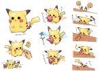 berry_(pokemon) closed_mouth commentary dedenne eating gen_1_pokemon gen_2_pokemon gen_5_pokemon gen_6_pokemon height highres holding holding_hand joltik mouth_hold nabenko open_mouth peeking_out pichu pikachu pokemon pokemon_(creature) smile standing yellow_fur