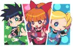 3girls :d ;p akazutsumi_momoko belt black_gloves black_hair blonde_hair blue_eyes blue_jacket blue_shirt blue_skirt blush_stickers bow commentary drill_hair fingerless_gloves gloves goutokuji_miyako green_eyes green_shirt green_skirt grin hair_bow hyper_blossom jacket long_hair looking_at_viewer magical_girl matsubara_kaoru miyata_(lhr) multiple_girls one_eye_closed open_mouth pink_jacket ponytail powered_buttercup powerpuff_girls_z red_eyes red_shirt red_skirt rolling_bubbles shirt short_hair skirt sleeveless sleeveless_jacket smile tongue tongue_out twintails yellow_jacket
