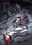 1boy amuro_ray damaged floating gundam headless highres jetpack lying mecha missing_limb mobile_suit_gundam on_side pilot_suit rx-78-2 science_fiction suzutsuki_kurara