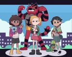 3girls amphibia anne_boonchuy backpack bag bandana black_hair blonde_hair book brown_hair capelet caroro117 cityscape closed_eyes crossed_arms crossover dark_skin dark_skinned_female flexing gen_3_pokemon gen_7_pokemon hair_ornament hairclip handbag highres holding holding_book holding_leg incineroar komala looking_at_viewer marcy_wu mole mole_under_eye multiple_girls pokemon pokemon_(creature) ponytail pose raised_eyebrow sasha_waybright scrunchie shoes short_hair shorts skirt sleeping smile smirk sneakers socks tree_stump treecko waving