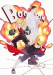 3boys absurdres akatsuki_uniform bai_wu_dong bakugou_katsuki bandana bare_shoulders black_hair blonde_hair blue_eyes boku_no_hero_academia boots crossover deidara explosion formal fullmetal_alchemist gloves hat highres holding holding_clothes holding_hat jewelry long_hair low_ponytail male_focus multiple_boys multiple_crossover nail_polish naruto_(series) naruto_shippuuden necktie onomatopoeia pants ponytail purple_neckwear red_eyes ring short_hair smile solf_j_kimblee spiky_hair suit trait_connection white_suit
