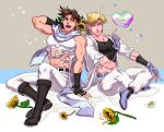 2boys :d abs alternate_color anz aqua_eyes arm_behind_head arm_support bare_shoulders battle_tendency belt black_footwear black_gloves blonde_hair blue_footwear blue_gloves boots bouquet brown_hair bubble caesar_anthonio_zeppeli coat collarbone commentary_request crop_top facial_mark feathers fingerless_gloves flower gloves green_eyes hair_feathers hand_on_own_knee hand_up headband highres holding holding_bouquet index_finger_raised indian_style jewelry jojo_no_kimyou_na_bouken joseph_joestar_(young) knee_boots looking_at_another male_focus midriff multiple_boys multiple_sources navel open_mouth pants pectorals ring scarf short_hair side-by-side sideways_glance sitting skin_tight sleeveless sleeves_rolled_up smile stomach striped striped_scarf sunflower tank_top tongue triangle_print upper_teeth white_coat white_flower white_footwear white_pants yellow_flower