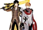 2boys artist_name bangs black_gloves black_hair blue_eyes brown_hair clenched_hand closed_mouth collarbone earrings formal genshin_impact gloves greatsword hair_between_eyes hair_over_one_eye highres holding holding_sword holding_weapon jacket jewelry long_hair long_sleeves looking_at_viewer male_focus mask mask_on_head multicolored_hair multiple_boys one_eye_covered orange_hair over_shoulder ponytail short_hair simple_background single_earring smile sushisalmon95 sword tartaglia_(genshin_impact) tassel tassel_earrings weapon weapon_over_shoulder white_background yellow_eyes zhongli_(genshin_impact)