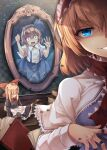 2girls alice_margatroid alice_margatroid_(pc-98) blonde_hair blue_eyes blue_hairband blue_skirt book broken_glass capelet center_frills collared_shirt crying doll doll_joints eyebrows_visible_through_hair frilled_hairband frills glass hair_between_eyes hairband highres indoors joints lolita_hairband looking_at_another looking_at_viewer midori_(misuriru8) mirror multiple_girls open_mouth red_hairband red_scarf scarf shanghai_doll shirt short_hair short_sleeves skirt smile stuck suspenders touhou v-shaped_eyebrows white_capelet white_shirt