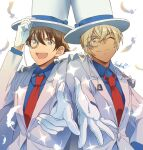 2boys :d ;) amuro_tooru arm_up bangs blonde_hair blue_eyes blue_shirt brown_hair cape closed_mouth collared_shirt commentary_request cosplay dreaming182 dress_shirt falling_feathers feathers formal gloves hair_between_eyes hand_on_headwear happy hat jacket kaitou_kid kaitou_kid_(cosplay) long_sleeves looking_at_viewer magic_kaito male_focus matching_outfit meitantei_conan monocle monocle_chain multiple_boys necktie one_eye_closed open_mouth outstretched_hand red_neckwear shirt short_hair side-by-side signature simple_background smile sparkle suit top_hat upper_body upper_teeth white_background white_cape white_feathers white_gloves white_headwear white_jacket white_suit